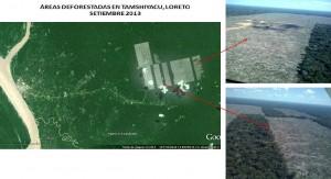 Zones déboisées à Tamshiyacu. Source: SPDE, Perou